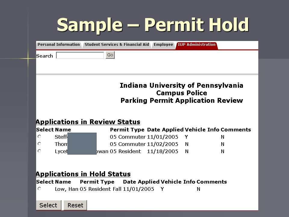 Sample – Permit Hold