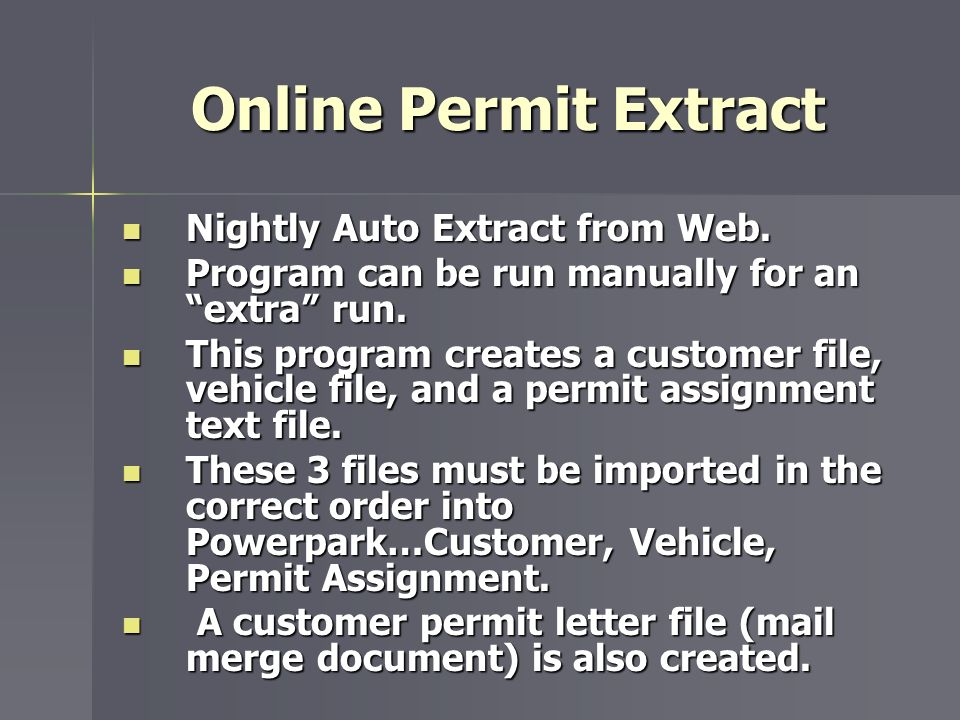 Online Permit Extract Nightly Auto Extract from Web.