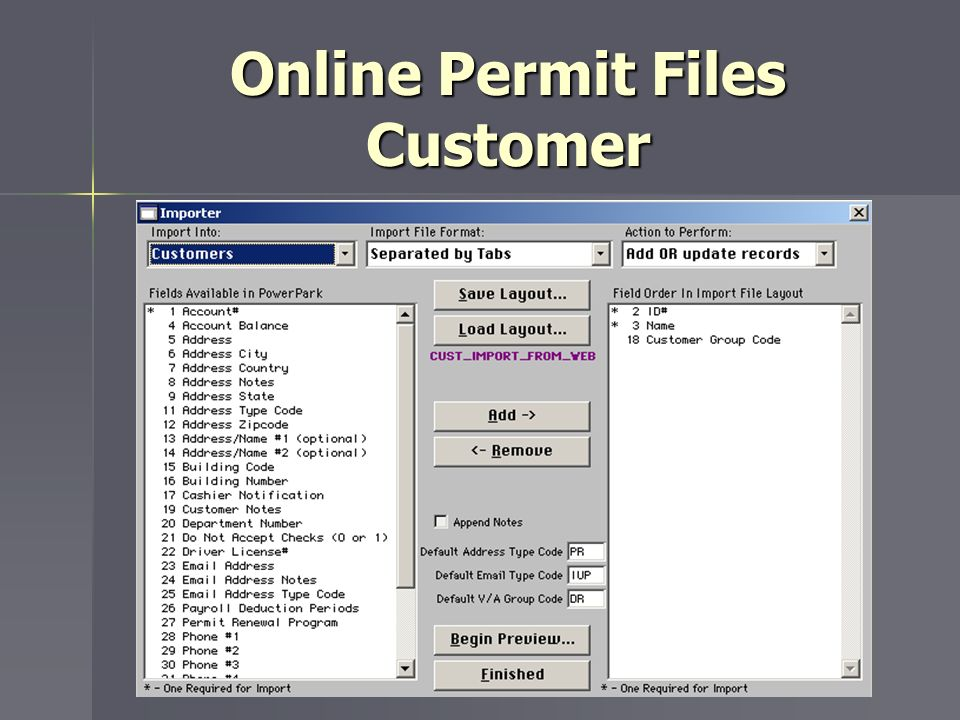 Online Permit Files Customer