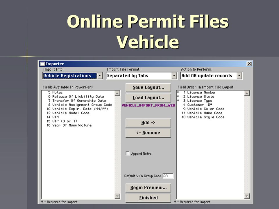 Online Permit Files Vehicle