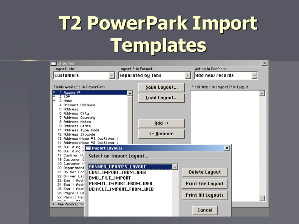 T2 PowerPark Import Templates