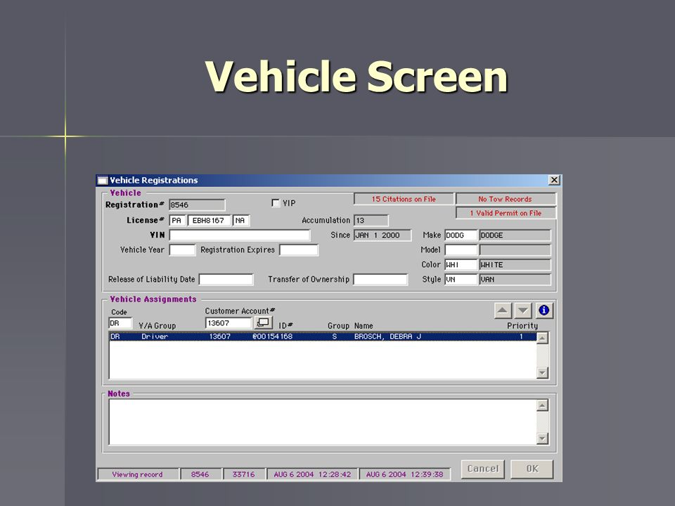 Vehicle Screen