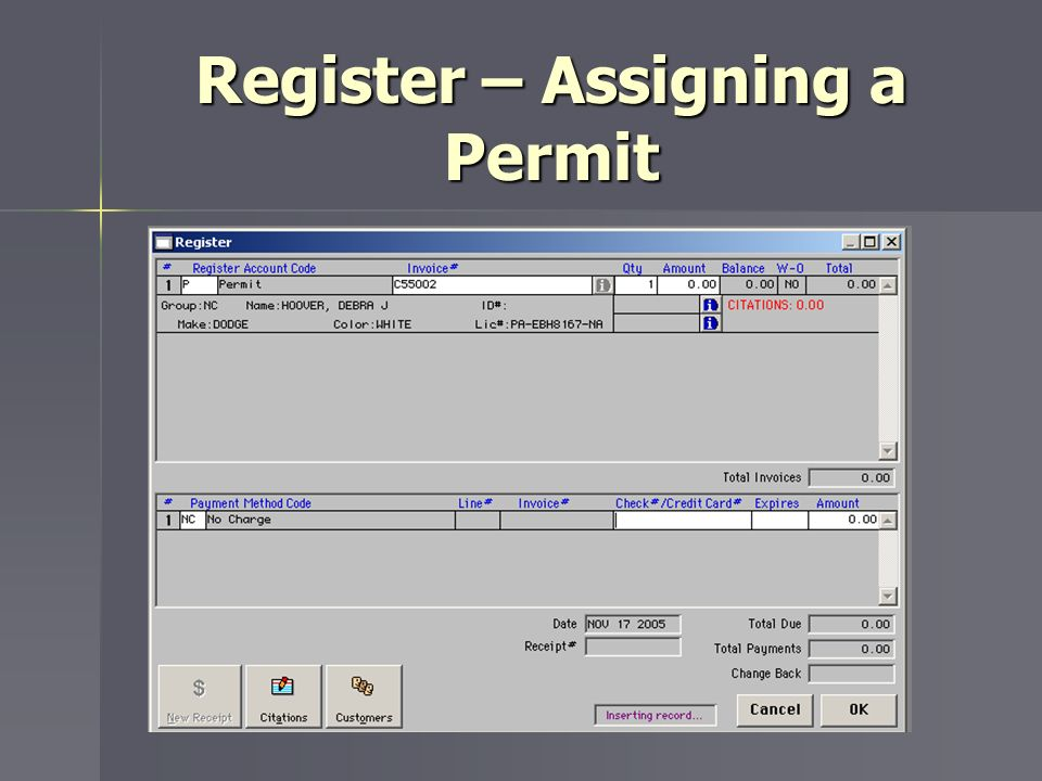 Register – Assigning a Permit
