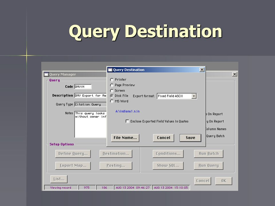 Query Destination