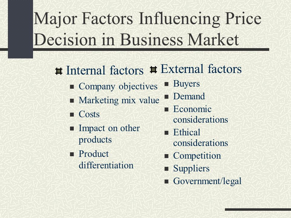 factors influencing pricing decisions in marketing