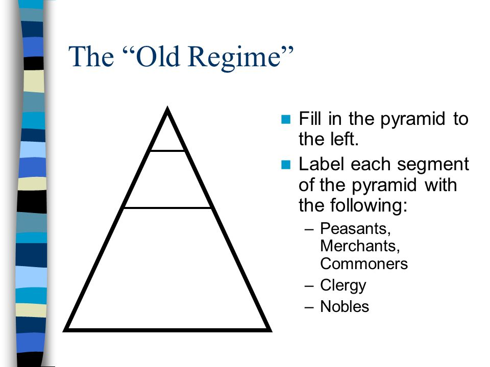 the old regime fill in the pyramid to the left