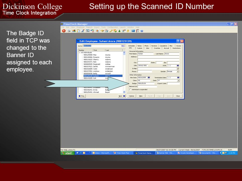Setting up the Scanned ID Number