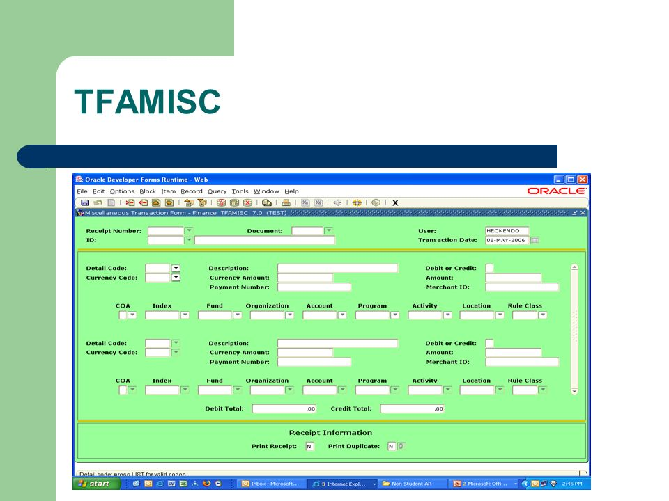 TFAMISC Miscellaneous Transactions