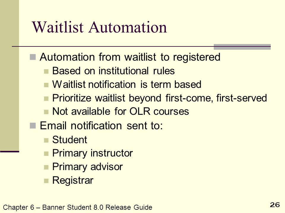 Waitlist Automation Automation from waitlist to registered