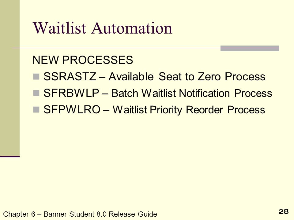 Waitlist Automation NEW PROCESSES