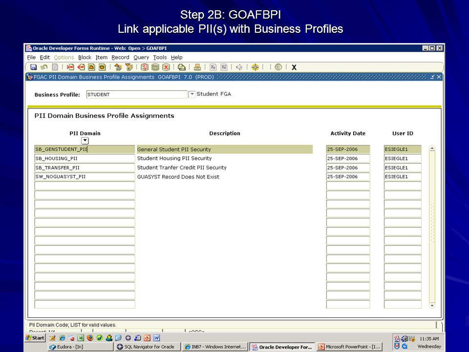 Step 2B: GOAFBPI Link applicable PII(s) with Business Profiles