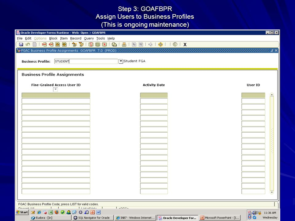 Step 3: GOAFBPR Assign Users to Business Profiles (This is ongoing maintenance)