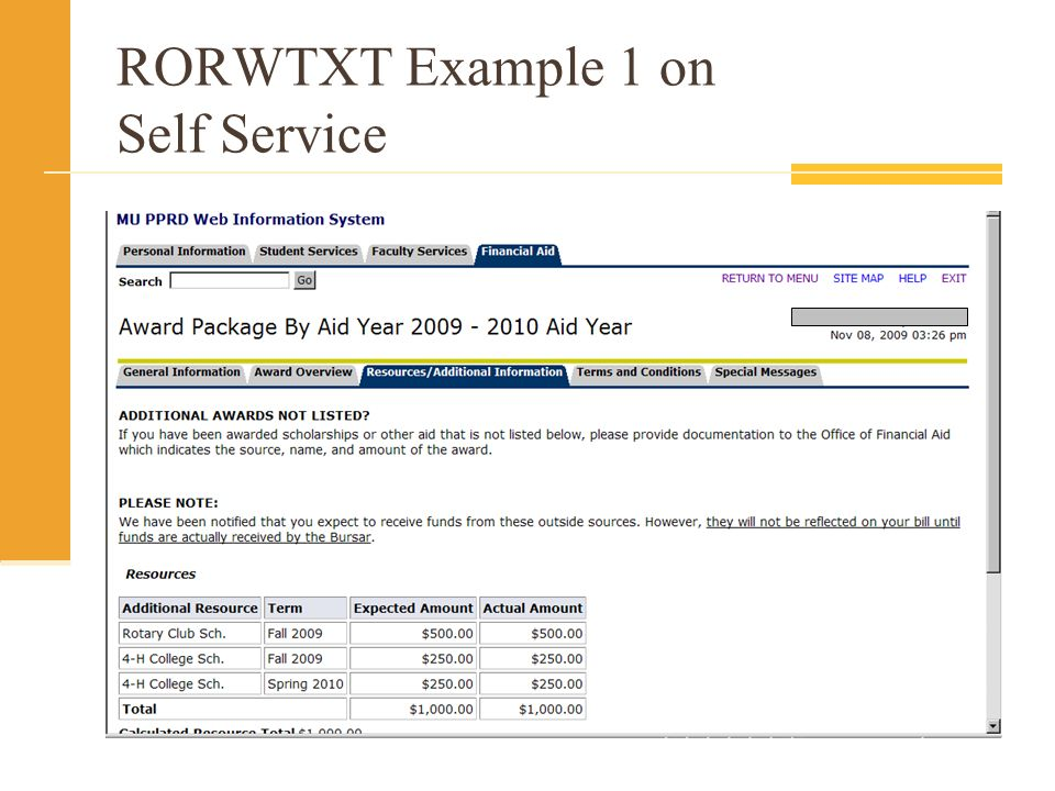 RORWTXT Example 1 on Self Service
