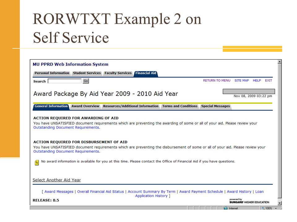RORWTXT Example 2 on Self Service