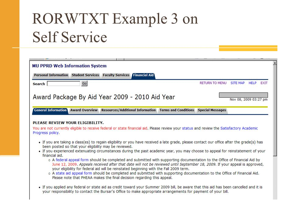 RORWTXT Example 3 on Self Service