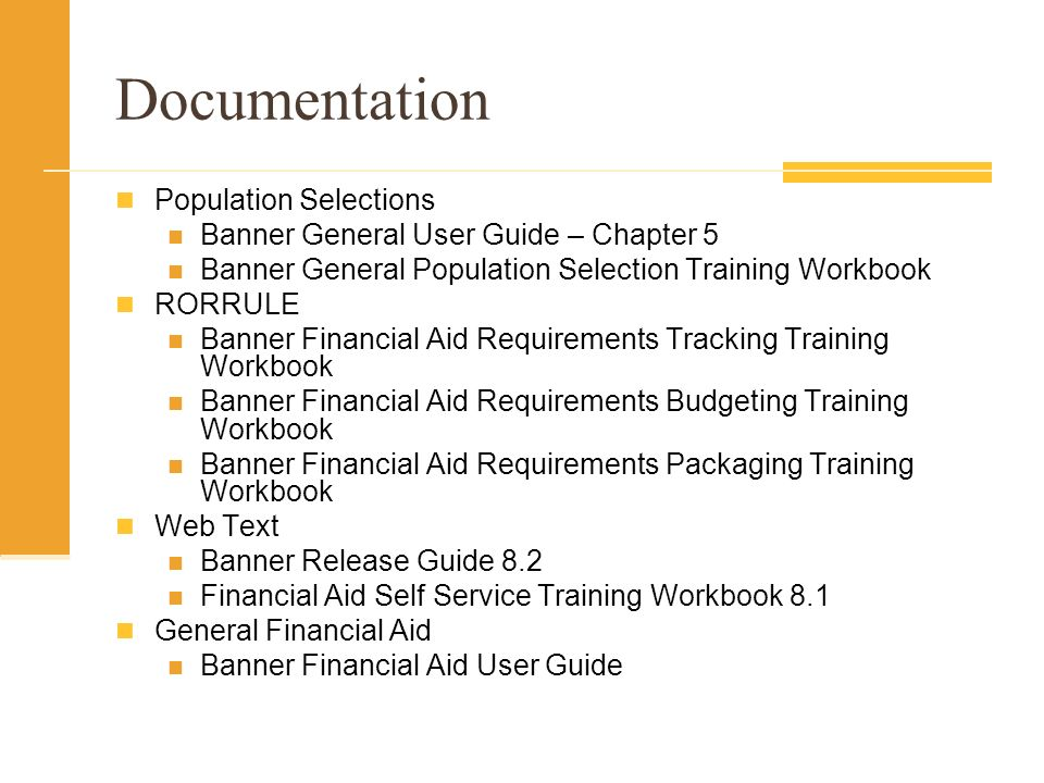 Documentation Population Selections