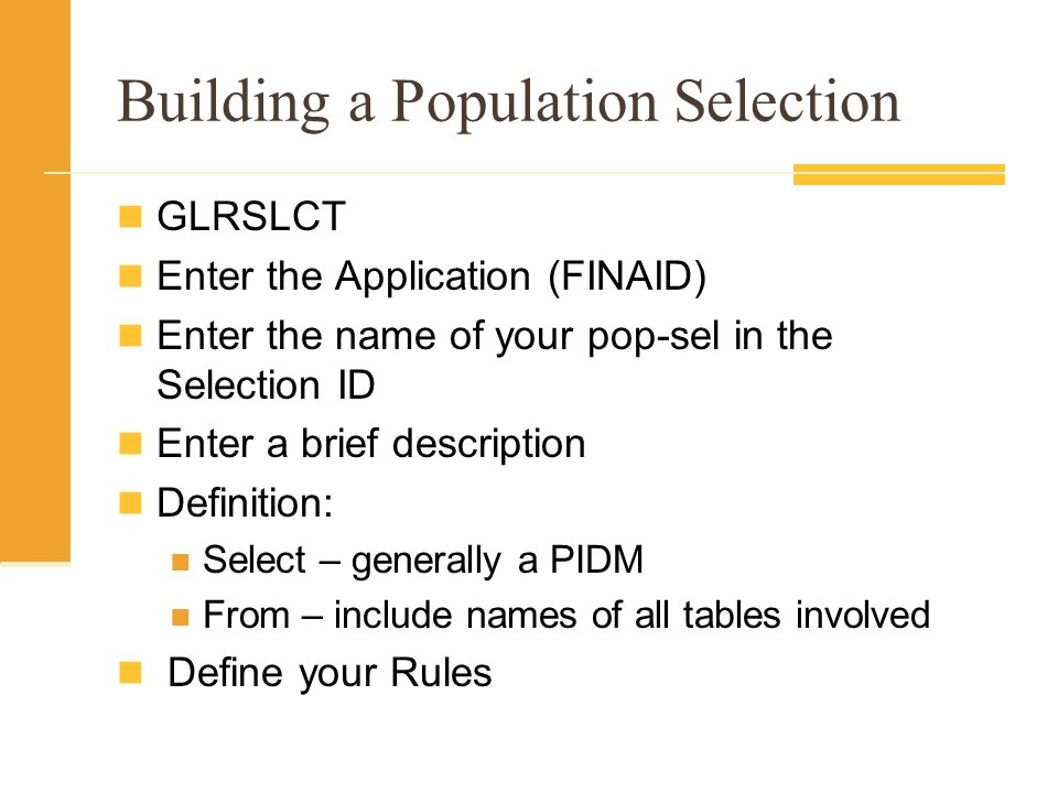 Building a Population Selection