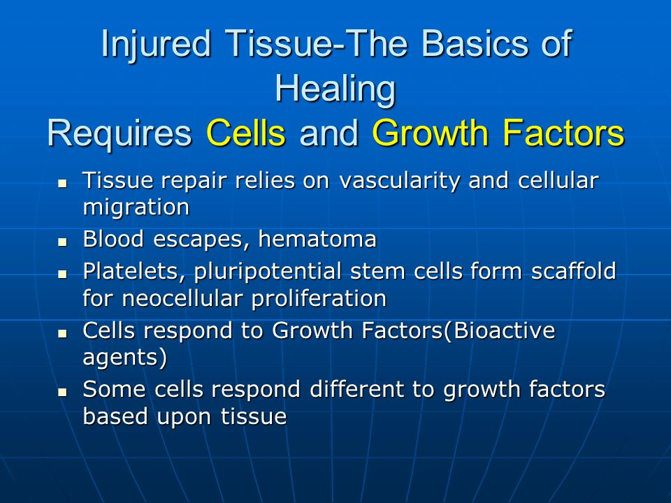 Injured Tissue-The Basics of Healing Requires Cells and Growth Factors