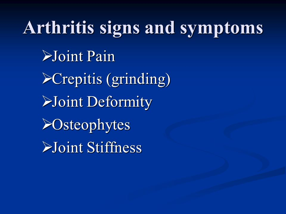 Arthritis signs and symptoms