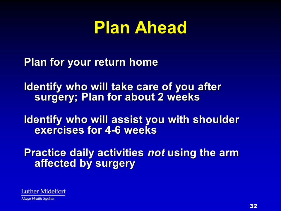 Plan Ahead Plan for your return home