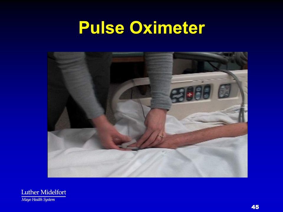 Pulse Oximeter This is a picture of the pulse oximeter monitoring your oxygen level
