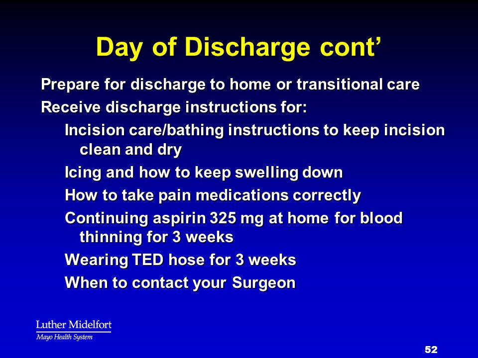 Day of Discharge cont' Prepare for discharge to home or transitional care. Receive discharge instructions for: