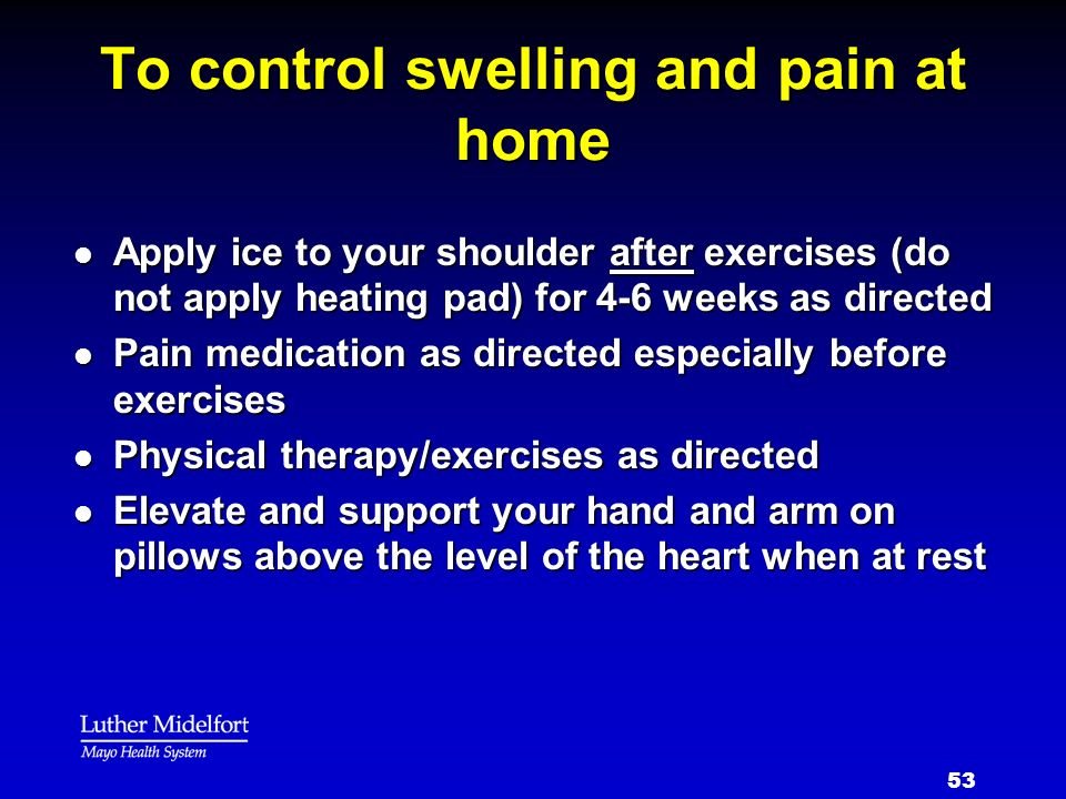To control swelling and pain at home