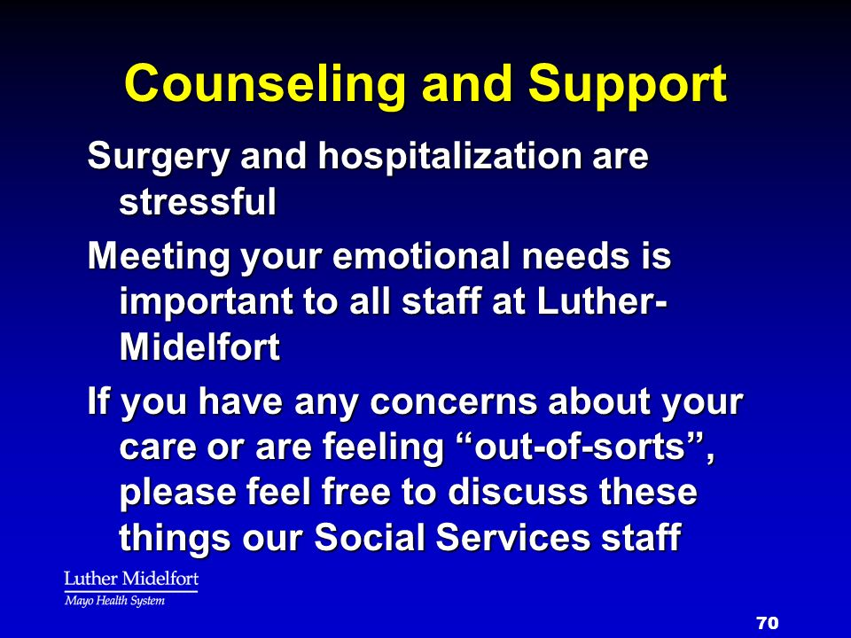 Counseling and Support