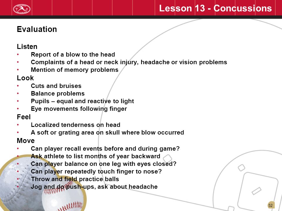 Lesson 13 - Concussions Evaluation Listen Look Feel Move