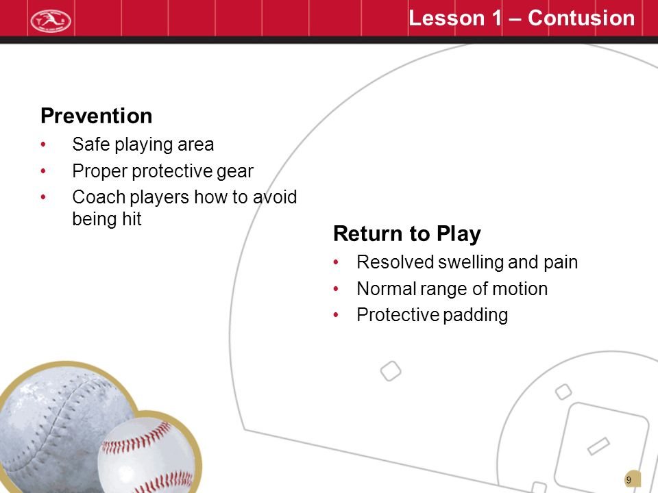 Lesson 1 – Contusion Prevention Return to Play Safe playing area