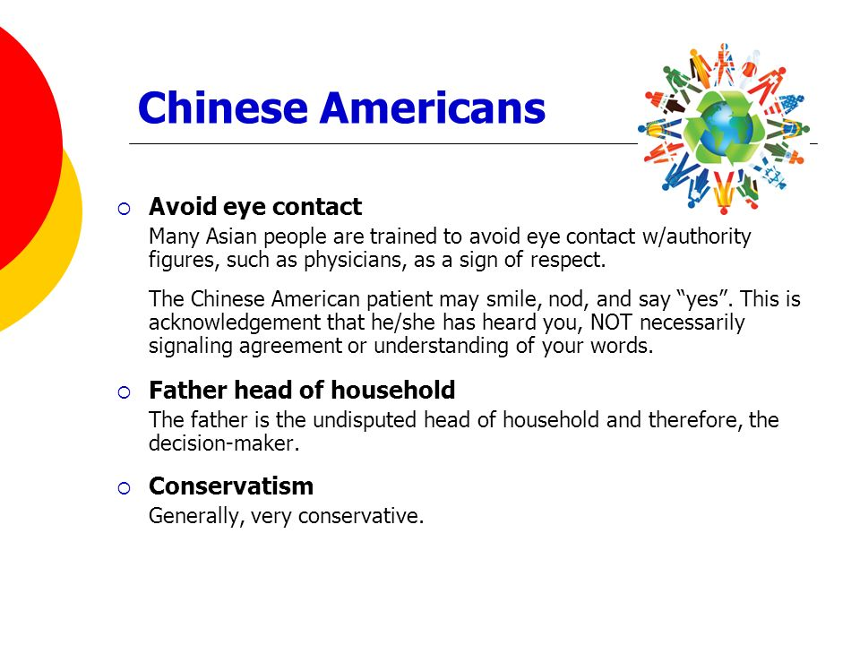 Chinese Americans Avoid eye contact Father head of household