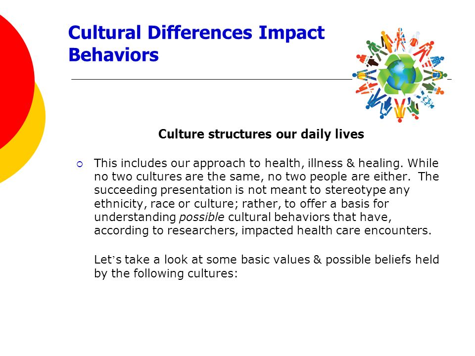 Cultural Differences Impact Behaviors