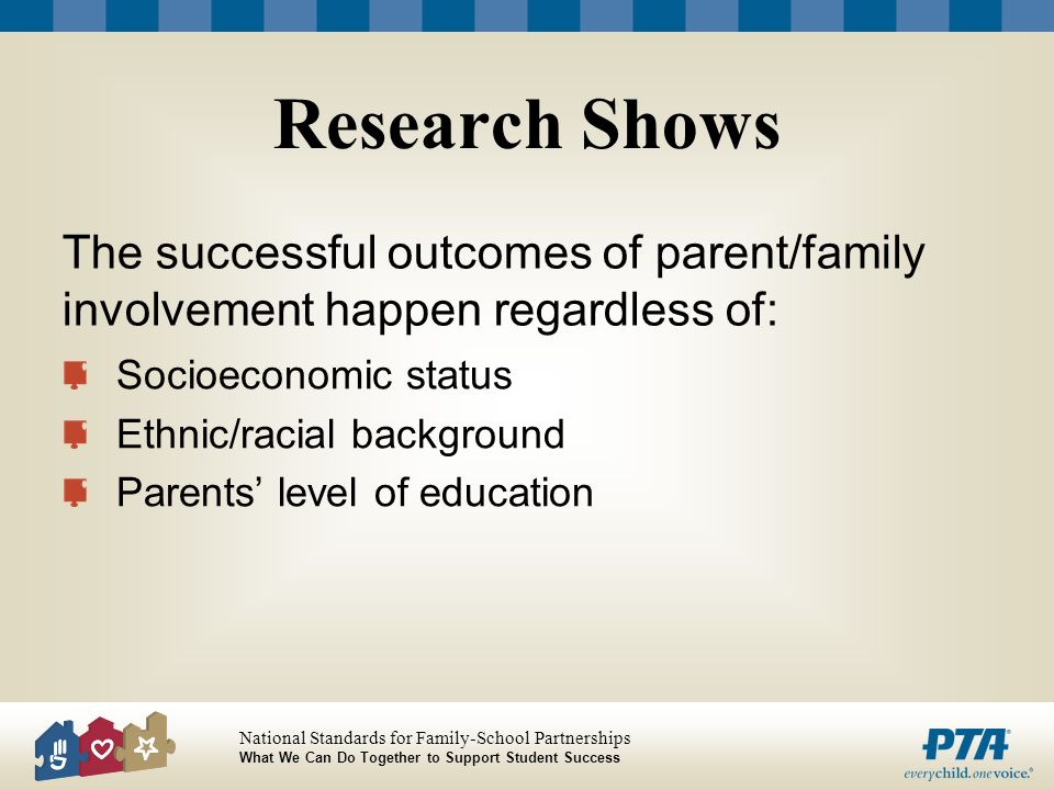 Research Shows Socioeconomic status. Ethnic/racial background. Parents' level of education.