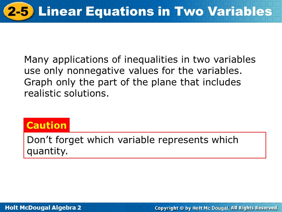 Many applications of inequalities in two variables use only nonnegative values for the variables. Graph only the part of the plane that includes realistic solutions.