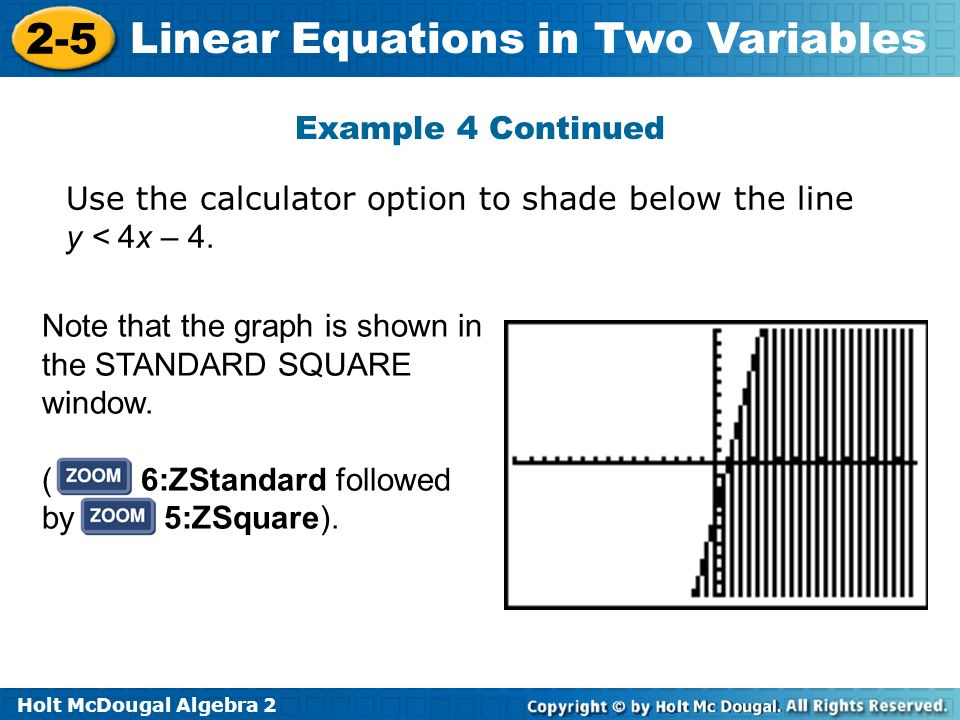 Example 4 Continued Use the calculator option to shade below the line y < 4x – 4. Note that the graph is shown in the STANDARD SQUARE window.