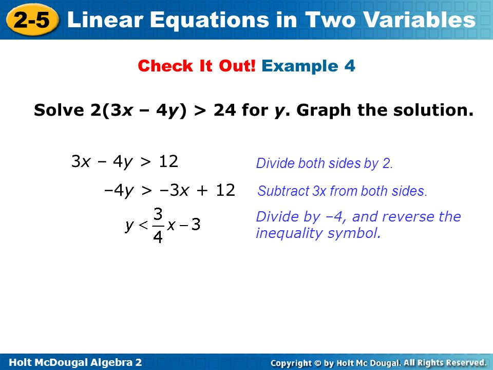Solve 2(3x – 4y) > 24 for y. Graph the solution.