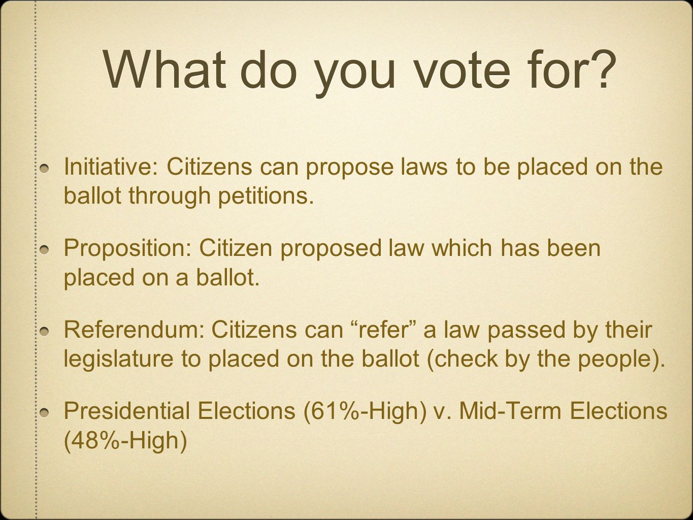 What do you vote for Initiative: Citizens can propose laws to be placed on the ballot through petitions.