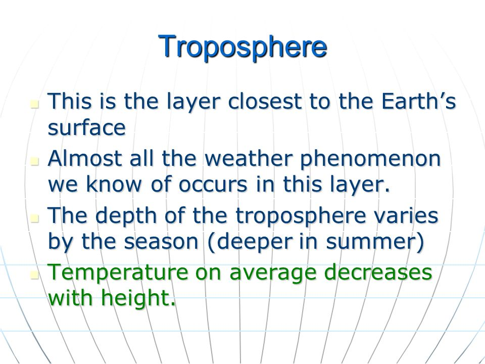 Troposphere This is the layer closest to the Earth's surface