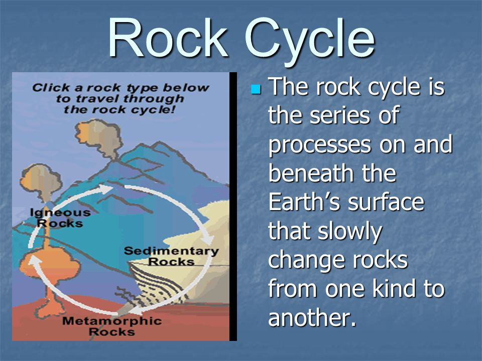 Rock Cycle The rock cycle is the series of processes on and beneath the Earth's surface that slowly change rocks from one kind to another.