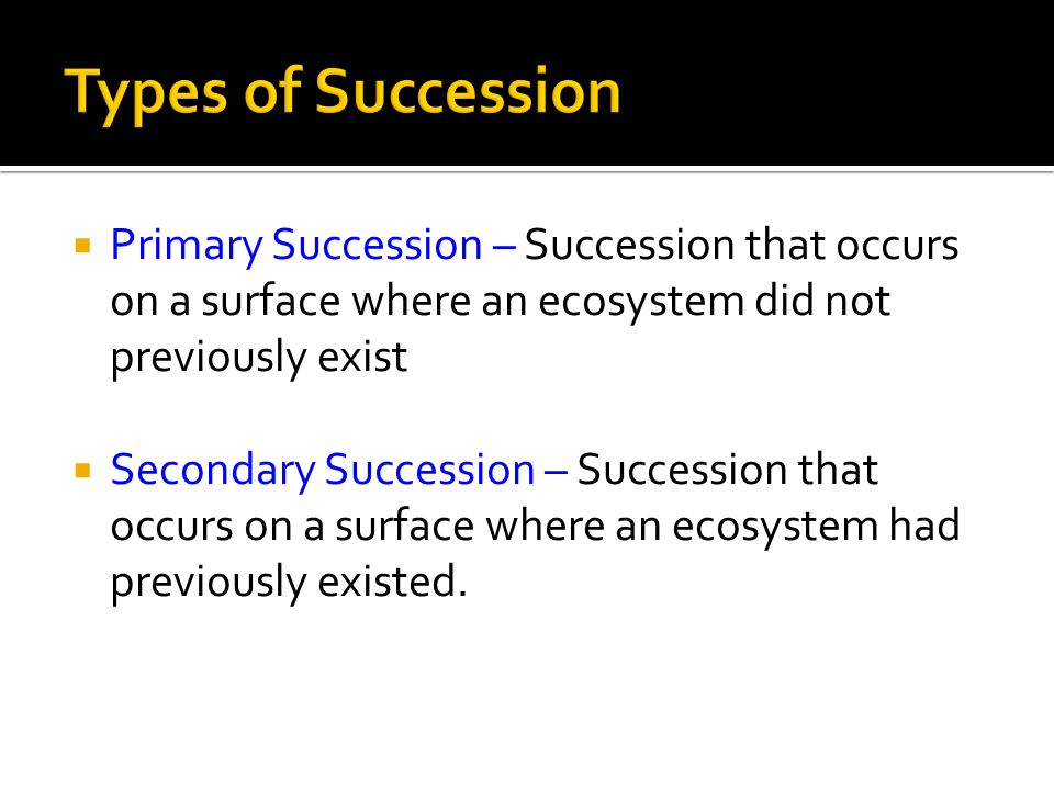 Types of Succession Primary Succession – Succession that occurs on a surface where an ecosystem did not previously exist.