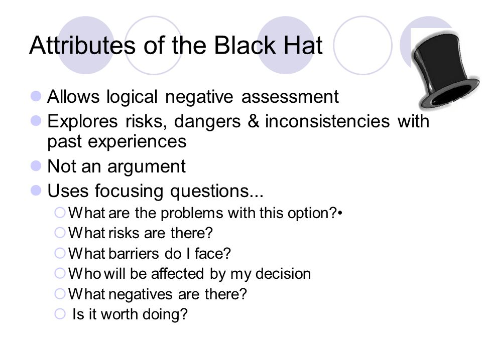 Attributes of the Black Hat