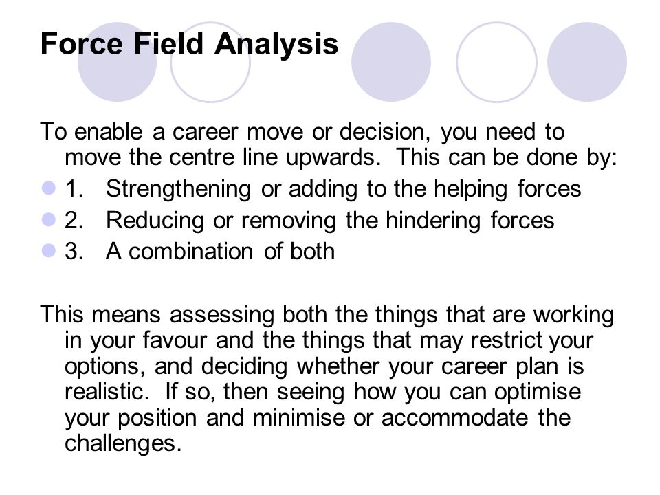 Force Field Analysis To enable a career move or decision, you need to move the centre line upwards. This can be done by: