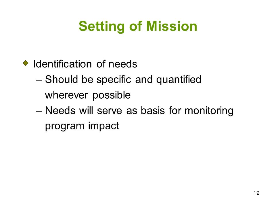 Setting of Mission Identification of needs