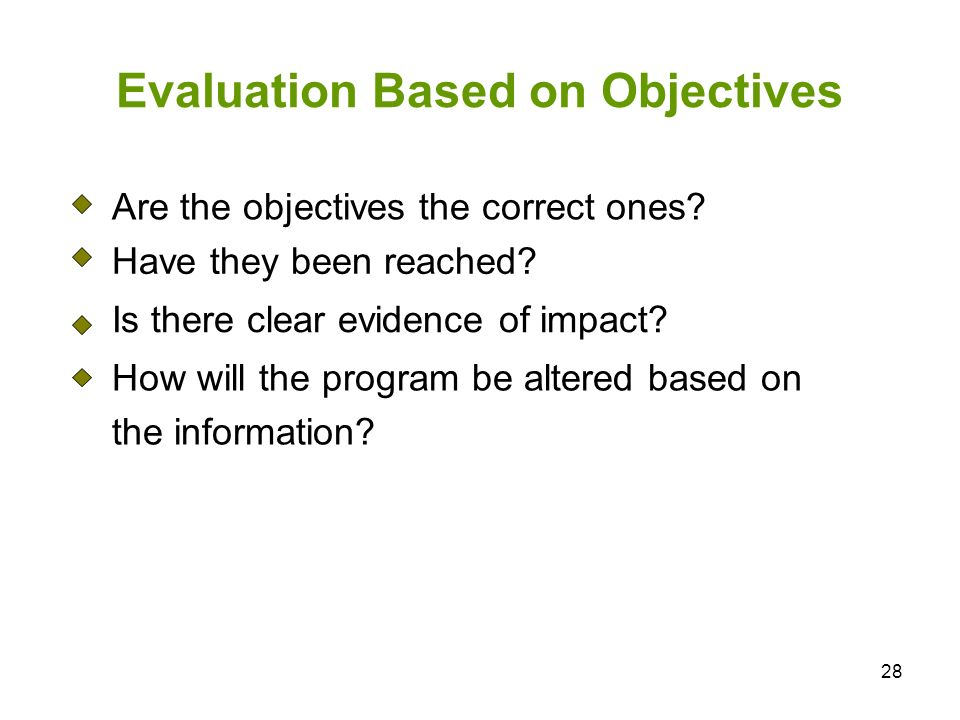 Evaluation Based on Objectives