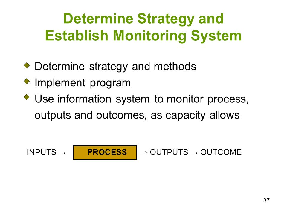 Determine Strategy and Establish Monitoring System