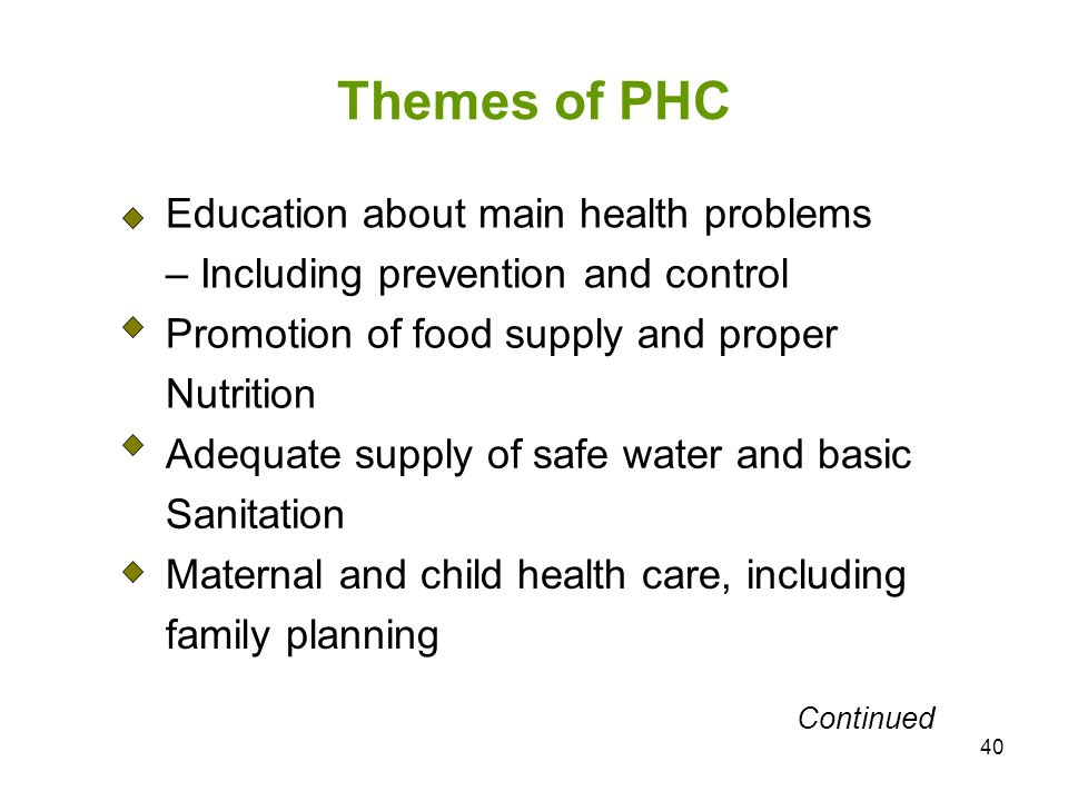 Themes of PHC Education about main health problems