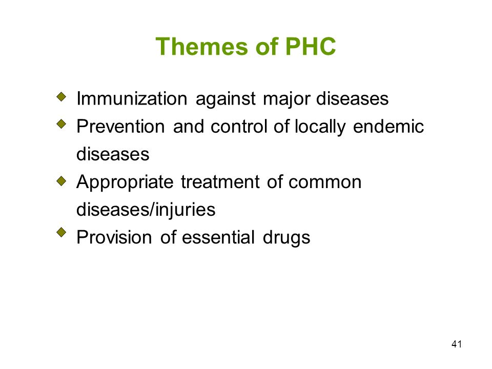 Themes of PHC Immunization against major diseases