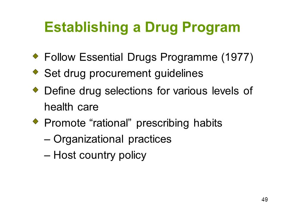 Establishing a Drug Program