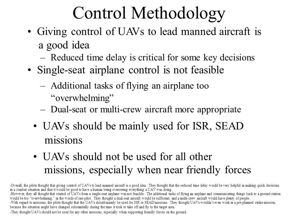 Control Methodology Giving control of UAVs to lead manned aircraft is
