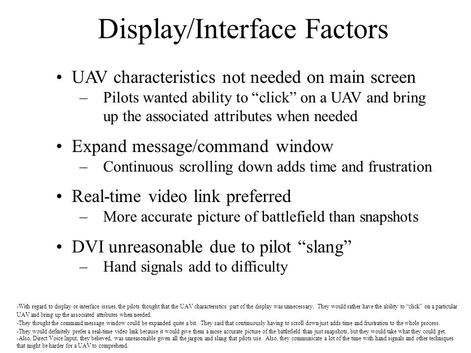 Display/Interface Factors